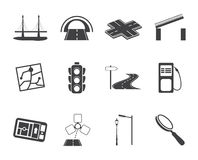 Silhouette Road, navigation and travel icons Stock Photography