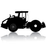Silhouette of a road roller. Vector illustration Royalty Free Stock Image
