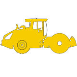 Silhouette of a road roller. Vector illustration Stock Images