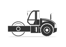 Silhouette of road roller. Vector illustration Royalty Free Stock Photo