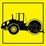 Silhouette of a road roller. Royalty Free Stock Photos