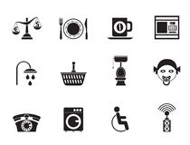 Silhouette Roadside, hotel and motel services icons Stock Photo