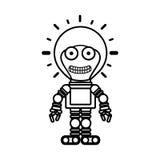 Silhouette robot toy flat icon. Vector illustration stock illustration
