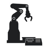 Silhouette robotic production line mechanic manufacture Royalty Free Stock Image