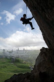 Silhouette of rock climber Stock Photography