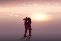 Silhouette Romantic Couple Embrace At Sunset Lovers Man And Woman Kiss Stock Photography