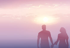 Silhouette Romantic Couple Holding Hands At Sunset Lovers Man And Woman Copy Space Royalty Free Stock Photo