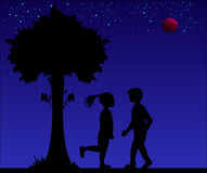 Silhouette of romantic couple at night. Vector illustration of lovers. sweet Stock Photos