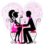 Silhouette of the romantic couple over heart. Silhouette of the romantic couple over floral heart for Valentine design Royalty Free Stock Photography