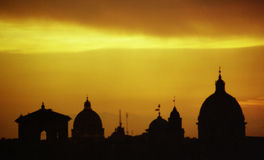 Silhouette of Rome. A silhouette of Rome, photographed during sunset Stock Images