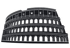 Silhouette of Rome Colosseum Stock Image