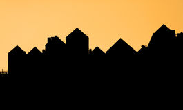 Silhouette of a roof of a house Stock Photos