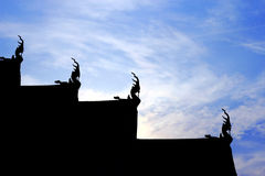 Silhouette roof  thai temple Royalty Free Stock Images