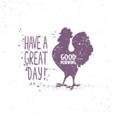 Silhouette of rooster. Grunge silhouette singing cockerel with sample text. Vector illustration Royalty Free Stock Photo