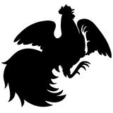 Silhouette of a rooster Royalty Free Stock Images