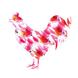 The silhouette of a rooster watercolor. New Year's background. New Year's card royalty free illustration