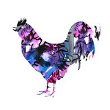 The silhouette of a rooster watercolor. New Year's background. New Year's card vector illustration