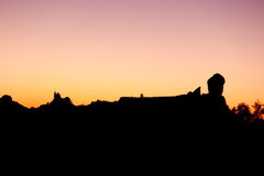 Silhouette of Roque Nublo in Gran Canaria Stock Image