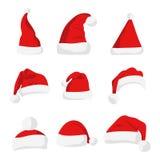 Silhouette rouge de chapeau de Santa Claus illustration stock