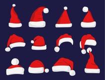 Silhouette rouge de chapeau de Santa Claus Photo stock