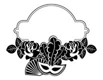 Silhouette round frame with carnival masks. Raster clip art. Royalty Free Stock Photography