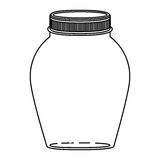 Silhouette rounded glass container with lid Stock Photography