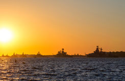 Silhouette row of warships in the Bay of Sevastopol Royalty Free Stock Photos