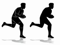 Silhouette of a rugby player, vector draw stock photos