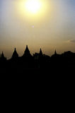 Silhouette of ruins of Bagan- Burma (Myanmar) Royalty Free Stock Photo