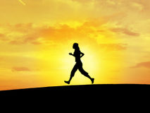 Silhouette runing. People's silhouette runing with the sunset in the bottom Stock Photography