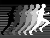Silhouette of runner in gray Stock Images
