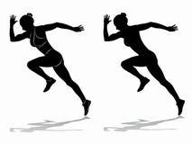 Silhouette of runner , vector draw stock photo
