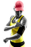 Silhouette runner woman. Stock Images