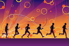Silhouette runners Royalty Free Stock Images