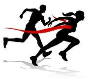 Runner Race Finish Line Track and Field Silhouette. Silhouette runners in a race track and field event crossing the finish line vector illustration