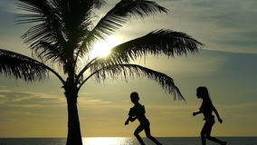 Silhouette of running children against the background of the ocean and palm trees. Silhouette of running children against the background of the ocean and palm stock video