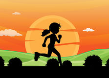 Silhouette running Royalty Free Stock Photo