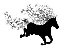 Silhouette of running horse. With ornamental spiral mane and tail Stock Images