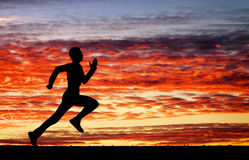 Silhouette of running man Royalty Free Stock Photo