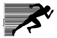 Silhouette of a running man. stock illustration
