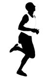 Silhouette running men Stock Photos