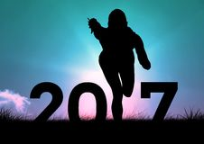 Silhouette of running person forming 2017 new year sign 3D Stock Image