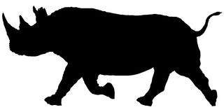 Silhouette running rhino Stock Photo