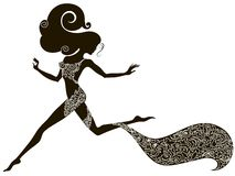Silhouette of a running woman. Handdrawing silhouette of a beautiful sexy running girl decorated with ornament Stock Photo