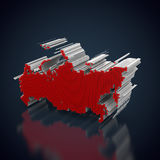 Silhouette of russia. Made out of red cubes Stock Images