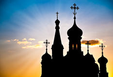Silhouette of russian church Stock Photos