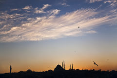 Silhouette of the Süleymaniye Mosque and Beyazid Tower Stock Image
