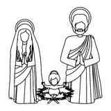 Silhouette sacred family with baby jesus kneel Royalty Free Stock Photography