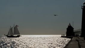 Silhouette Sail Boat & Pier Royalty Free Stock Image