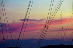 Silhouette Sailing Boat Masts Ropes at Sunset. stock image